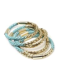 New Fashion Fools Gold Bracelets - Pyrite Jewelry Bracelets 5 Pcs Set (Turquoise)