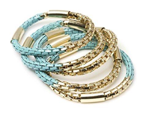 New Fashion Fools Gold Bracelets - Pyrite Jewelry Bracelets 5 Pcs Set (Turquoise)