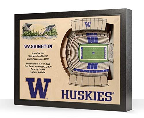 (NCAA Washington Huskies 25-Layer Stadiumviews 3D Wall Art)