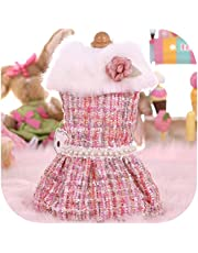 Surprise S Princess Dog Clothes Winter Warm Faux Collar Dog Coat Small Dog Cat Clothes Puppy Jacket with Pearl Chihuahu