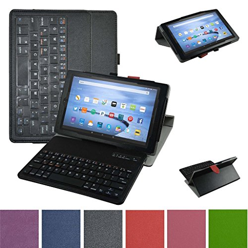 Fire HD 10 Bluetooth Keyboard Case,Mama Mouth Coustom Design Slim Stand PU Leather Case Cover With Romovable Bluetooth Keyboard For 10.1