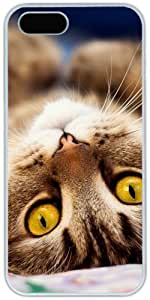 Cat Lying Down Retro For Iphone 5C Phone Case Cover Hard Shell White Cover Cases by iCustomonline