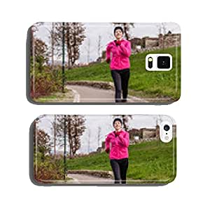 Young woman running on a cold winter day cell phone cover case iPhone5
