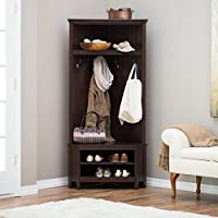 Wood Corner Entryway Hall Tree Bench With Top And Lower Storage Shelves, Shoe Rack, Space Saving Design, Suitable For Small Apartment, Bedroom, Espresso Finish, Home Furniture + Expert Guide