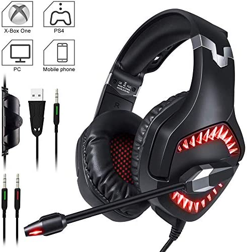 PS4 / Xbox One X/S/Nintendo Switch/PC/Laptop/Tablet用のマイクLEDライトとボリュームコントロール、パッド付き、調整可能なヘッドバ