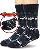 Mens Slipper Socks Fuzzy Warm Thick Heavy Fleece lined Christmas Stockings Fluffy Winter Socks With Grippers (Brown)