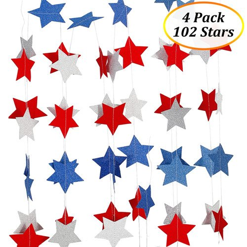 Patriotic Decorations Hanging Streamers (4 Pack), Lumiparty 4th of July Decorations, Red White Blue Star, Patriotic Party Supplies, DIY Birthday Party Decorations, DIY Room Decorations