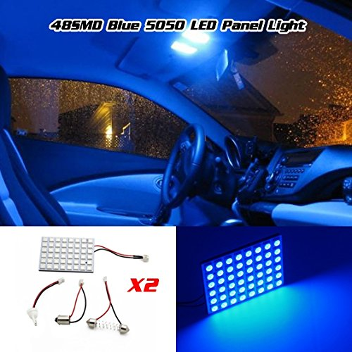 Partsam 2X 48SMD 5050 Blue Light Panel T10 BA9S Festoon Dome Interior Bulb For 2003-2013 Toyota Land Cruiser