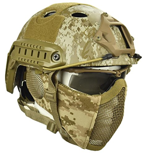 - Jadedragon PJ Tactical Fast Helmet & Protect Ear Foldable Double Straps Half Face Mesh Mask & Goggle (Desert Digital)