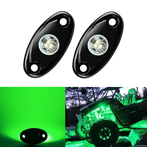 2 Pods LED Rock Lights Kit, Ampper Waterproof Underglow LED Neon Trail Rig Lights for Car Truck ATV UTV Baja Raptor Offroad Boat Trail Rig Lamp Underbody Glow (Green)