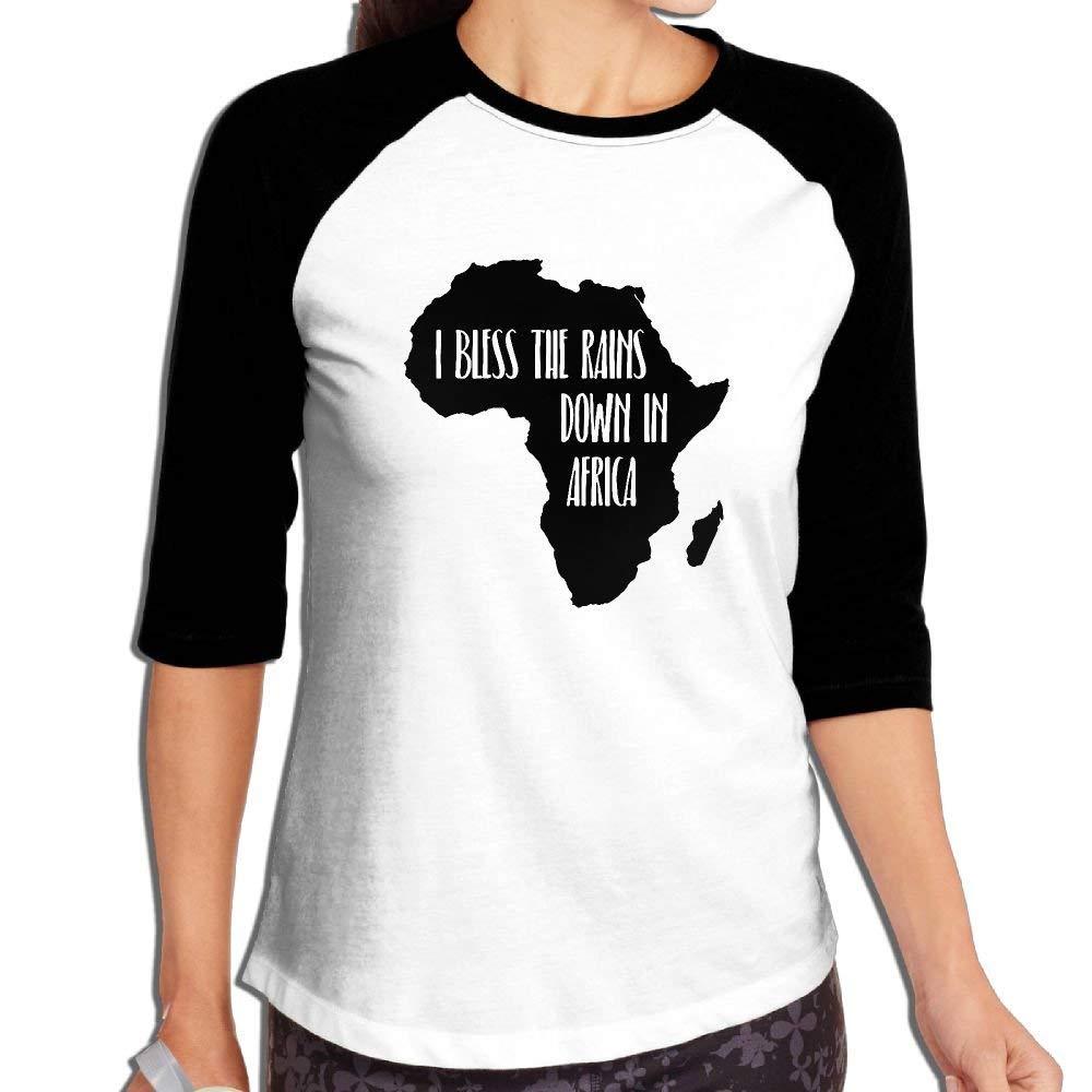 FHddg Womens I Bless The Rains Down in Africa 3/4 Sleeve Raglan Baseball T-Shirts