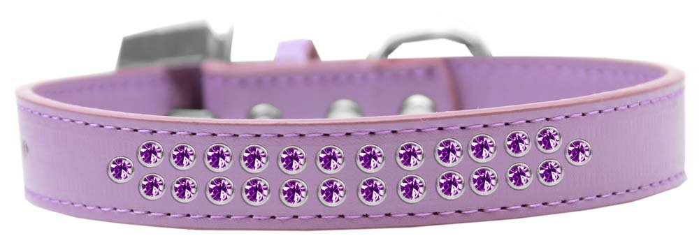 Mirage Pet Products Two Row Purple Crystal Lavender Dog Collar, Size 16 by Mirage Pet Products