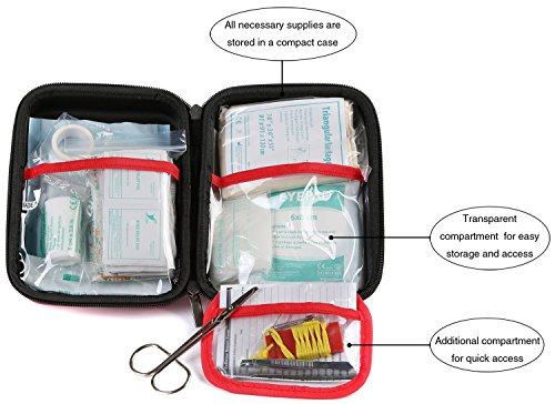 WELL-STRONG 128 Pieces First Aid Kit - Compact and Lightweight First Aid Bag - Essential for Home, Car, School, Office, Sports, Travel, Camping, Hiking or Any Other Outdoors Activities by WELL-STRONG (Image #2)