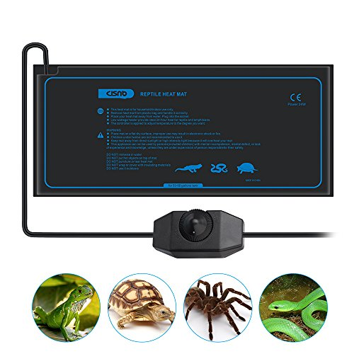 CISNO Under Tank Heater Mat for Reptiles Amphibians with Temperature Controller 45x25CM 24W