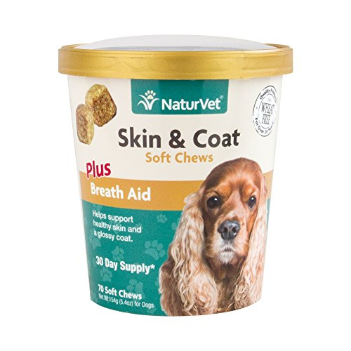 NaturVet Skin & Coat Plus Breath Aid for Dogs, 70 ct Soft Chews, Made in USA