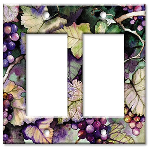 (Art Plates - Double Gang Rocker OVERSIZE Switch Plate/OVER SIZE Wall Plate - Grapes and Leaves)