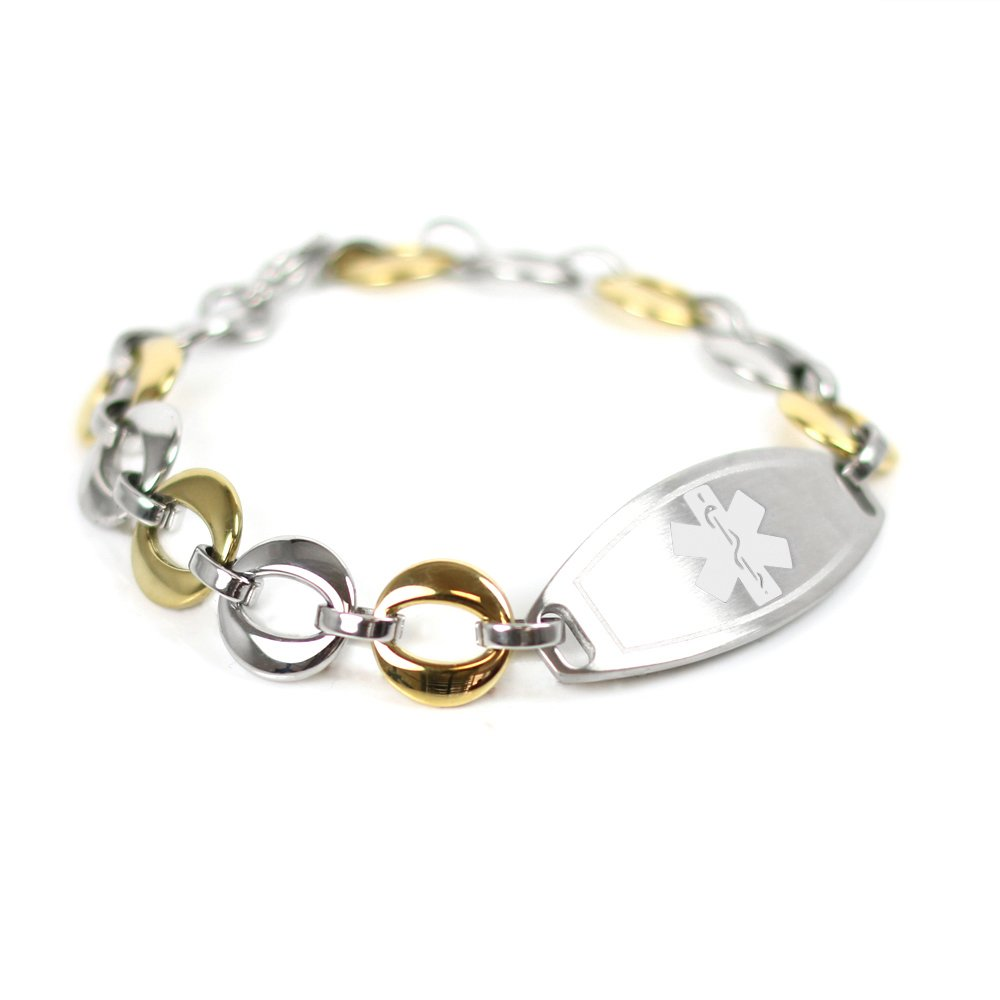 My Identity Doctor Custom Medical ID Bracelet with Free Engraving, 1.5cm Gold Tone Steel Links - White