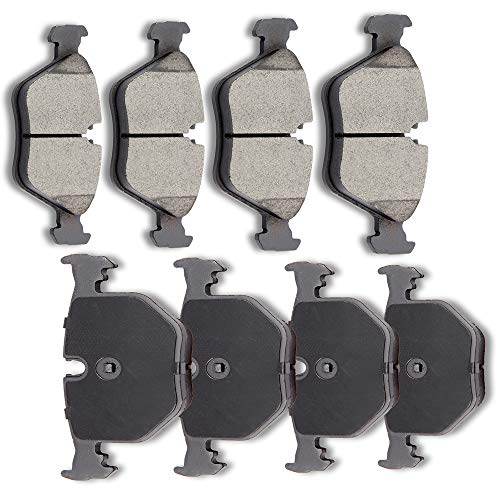 SCITOO 8pcs Front Rear Ceramic Brake Pads fit for 2004 05 06 07 08 09 2010 BMW X3,2005 2006 BMW M3,2006 2007 2008 BMW Z4,2001 02 03 04 2005 BMW 330xi/330i,2001 02 03 04 05 2006 BMW 330Ci