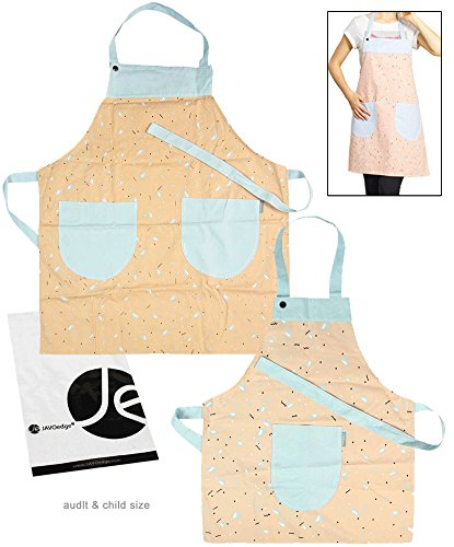 Mom Daughter Aprons (JAVOedge Whale Pattern Mom and Me Apron Cooking/Baking Apron with Pocket Great Gift to Mother and Daughter Matching Set)