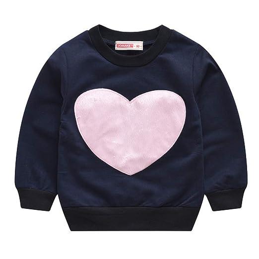 867a0547da748 Amazon.com: Baby Girls Tops, Fineser Toddler Kids Baby Girls Long Sleeve  Loving Heart Print Pullover Sweatshirt T-Shirt Tops Sweater: Clothing