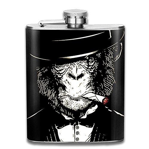 Ancharpin Fierce Gorilla Gentleman Pocket Leak Proof Liquor Hip Flask Alcohol Flagon 304 Stainless Steel 7OZ Gift Box Outdoor