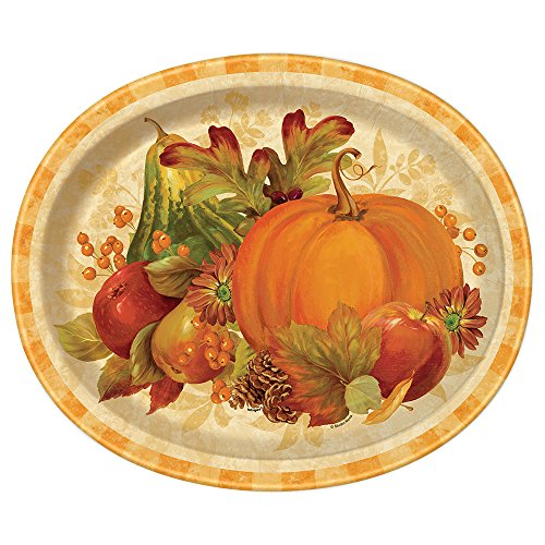 Pumpkin Harvest Fall Oval Paper Plates, -