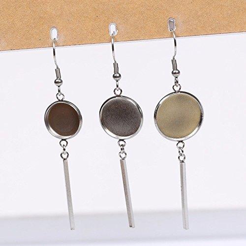 SHUNAE 20pcs Pack 12mm 14mm 16mm Stainless Steel 304 cabochon Earring Base Settings Blank Earrings Bezel Trays DIY Earring Hooks findings (12mm)
