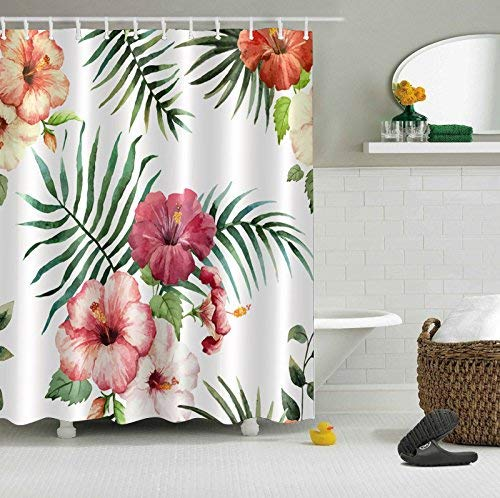 - Abaysto Watercolor Hawaiian Hibiscus Flower Pattern Design Tropical Plant Floral Home Decor Shower Curtain Sets with Hooks Polyester Fabric Great Gift