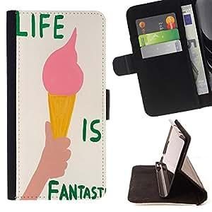 King Art - Premium-PU-Leder-Prima caja de la PU billetera de cuero con ranuras para tarjetas, efectivo Compartimiento desmontable y correa para la mu?eca FOR Sony Xperia M2 s50h Aqua- Ice Cream Summer
