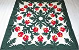 Hawaiian quilt lap blanket / wall hanging 100% hand quilted/hand appliqued 60x60