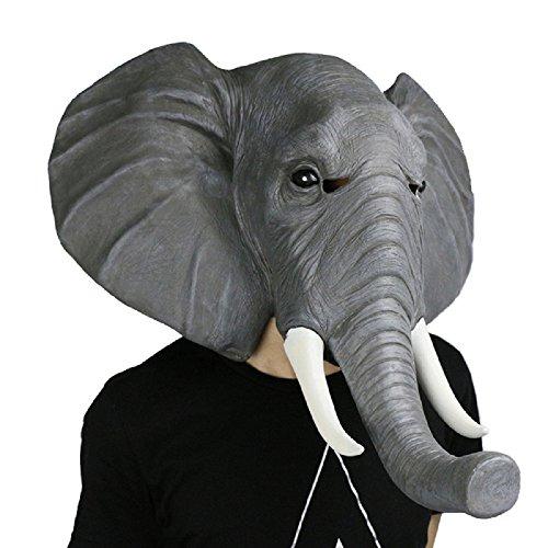 SUNKY- Elephant Latex Head Mask Creepy Animal Costume for Halloween (Adult Elephant Costumes)