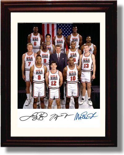 Framed 92 Olympic Basketball Team Autograph Replica Print - USA Dream Team