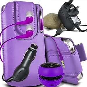 ONX3 Huawei Ascend Y530 Leather Slip protectora magnética de la PU de cordón en la bolsa del lanzamiento rápido con Mini capacitivo Stylus Pen retráctil, 3.5mm en auriculares del oído, mini altavoz recargable Cápsula, Micro USB CE aprobó 3 Pin Cargador 12v Micro USB cargador de coche ( Purple)
