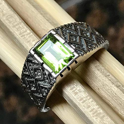 Genuine 2ct Apple Green Peridot Emerald Cut 925 Sterling Silver Solitaire Men's Ring sz 6.75, 7, 8.75, 9, 9.75, 10, 11, 12, 13