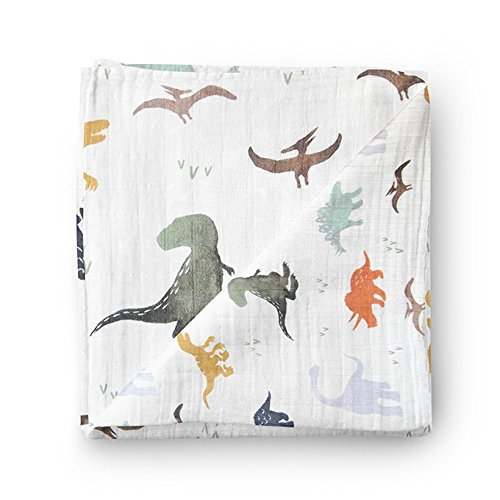 Muslin Baby Swaddle Blankets Luxurious, Soft and Silky 70% Bamboo 30% Cotton 47x47inch (1pack) Dinosaur Dragon Print, baby shower gift, nursing cover, baby wrap, burp cloth, baby boy dino swaddle