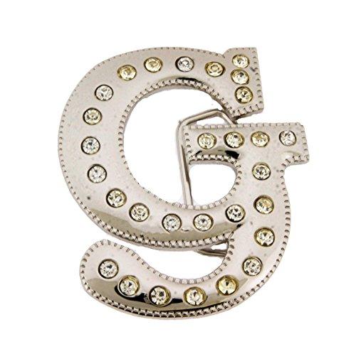 Initial Letter Cursive G Bling Chrome Silver Finished Belt (Silver Bling Belt Buckle)