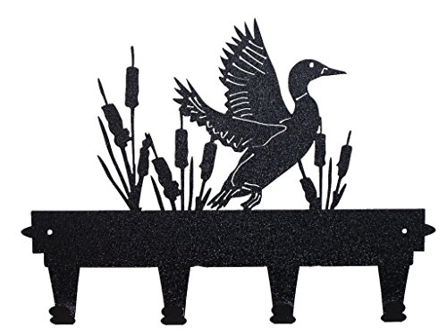 Black, Decorative Wall Mounted Duck and Cat Tails Coat and Hat Rack By Mustard Seed Metal Worx