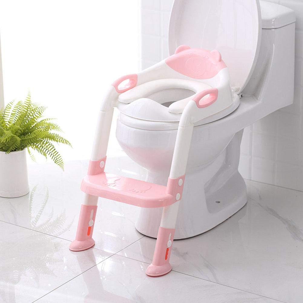 lingzhuo-shop Si/ège de Formation pour Pot de Toilette pour Enfants avec Solide /échelle antid/érapante Se Pliant Facile /à Utiliser pour b/éb/é b/éb/é aux Toilettes