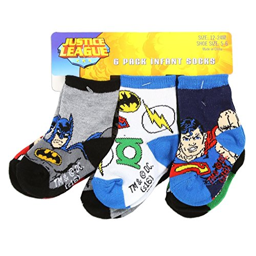 DC Comics Justice League 6 Pack Baby Infant Superhero Crew Socks (Size: 12-24 Mo. / Shoe Size: 5-6, (Justice League Babies)