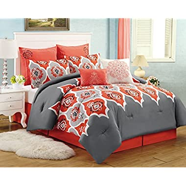 8 Piece King Casis Red and Gray Comforter Set