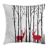 Abakuhaus Antlers Throw Pillow Cushion Cover, Deer Tree Forest with Red Holiday Theme Flying Leaves Branch Reindeer, Decorative Square Accent Pillow Case, 20 X 20 Inches, Red Black Grey White