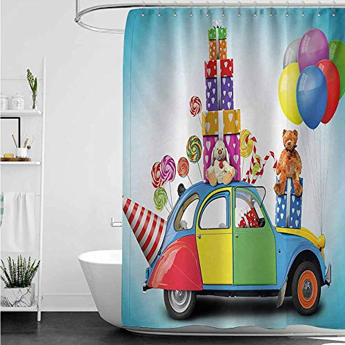 home1love Bathroom Shower Curtain,Birthday Colorful Car with Presents Toys Holiday Lollipops Party Hat Balloons Celebration,Metal Build,W55x84L,Multicolor