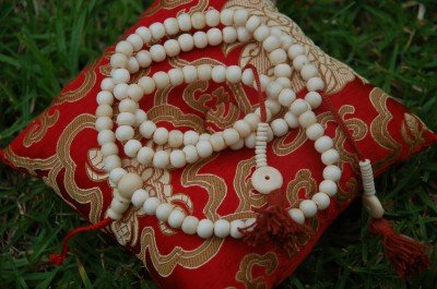 Tibetan Yak Bone Mala 108 Beads for Meditation in a Handmade Cloth Bag BM-01