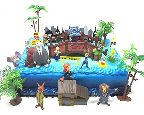 ZOOTOPIA 19 Piece Birthday Cake Topper Set Featuring Judy Hopps, Nick Wilde, Major Lionhart and Themed Decorative Accessories - Figures Average 1.5