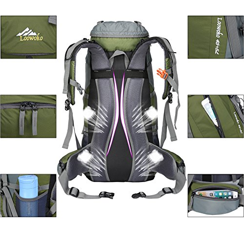 Loowoko Hiking Backpack 50l Travel Camping Backpack With