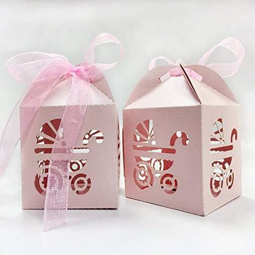 PONATIA 50pcs/Lot Laser Cut Pearl Paper Party Wedding Favor Ribbon Candy Boxes Gift Box (Pink Baby Carriage)