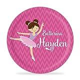 Ballerina Plate - Pink Chevron Ballet Dancer Melamine Personalized Plate
