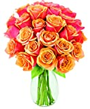 Kabloom Two to Tango Orange Roses (Two Dozen) - The KaBloom Collection Flowers With Vase