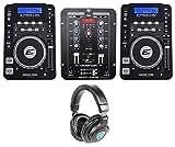 2) EPSILON CDUSB-7000 Tabletop DJ Scratch CD Digital Turntables+Mixer+Headphones