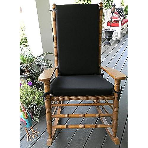 Indoor / Outdoor Solid Color Rocking Chair 2 Pc Foam Cushion Set ~ Fits  Cracker Barrel Rocker   Choose Color (Black)